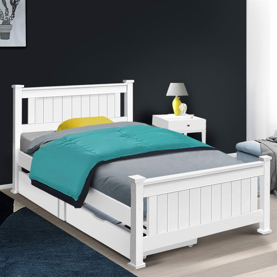 Artiss Wooden Bed Frame Timber Single Size RIO Kids Adults Storage Drawers