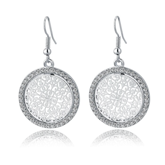 18k white Gold-filled Vintage Big Round Earrings For Women