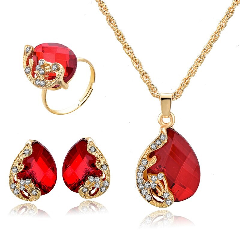 18k Gold Filled Water Drop Necklace Earrings Ring Sets