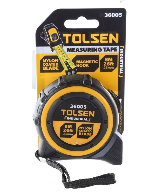 2 x TOLSEN Measuring Tapes 8M x 25mm, Nylon Coated Steel Tape with Magnetic