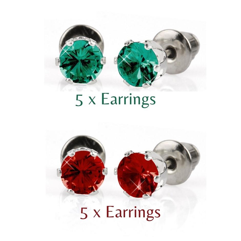 BULK PACK - 10 x 5mm Christmas Earrings (5 x Green, 5 x red)