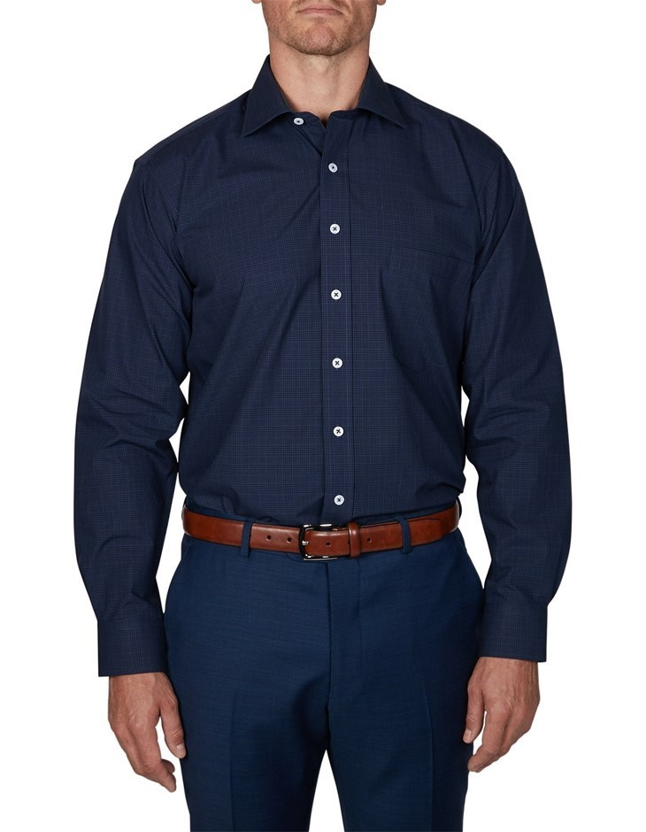 GEOFFREY BEENE Caan Check Shirt. Size 41, Colour: Ink. 100% Cotton. Buyers