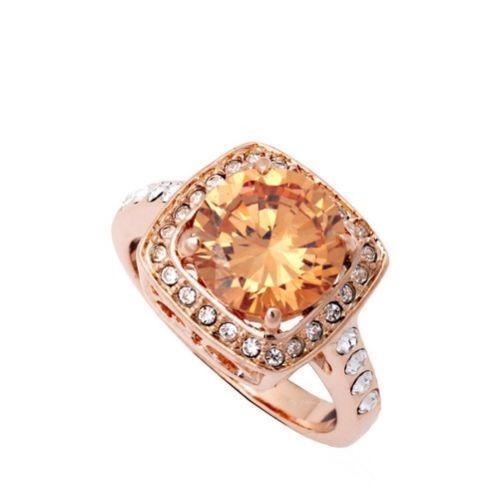 18K Rose Gold filled Big Champagne Crystal Fashion Ring Women's Gift
