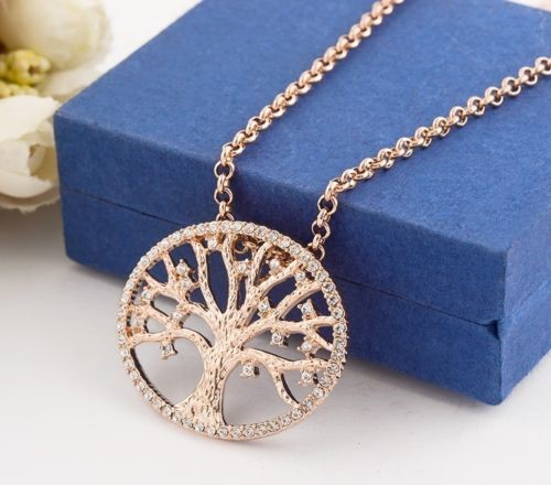 18K Rose Gold Filled Tree of Life Inlay Crystal Charm Pendant Necklace