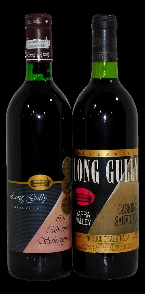 Mixed Long Gully Cabernet Sauvignon 1987/1991 (2x 750mL), VIC. Cork