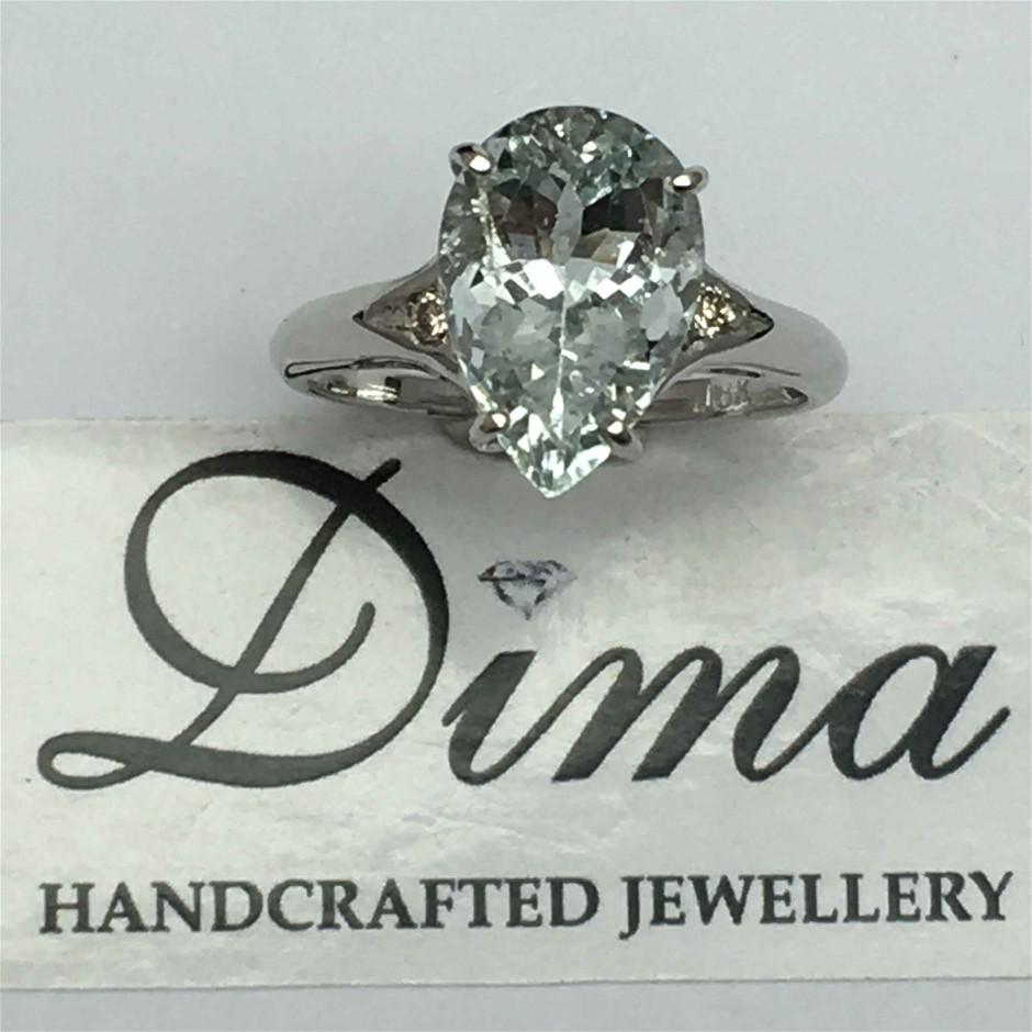 9ct White Gold, 3.60ct Aquamarine and Diamond Ring