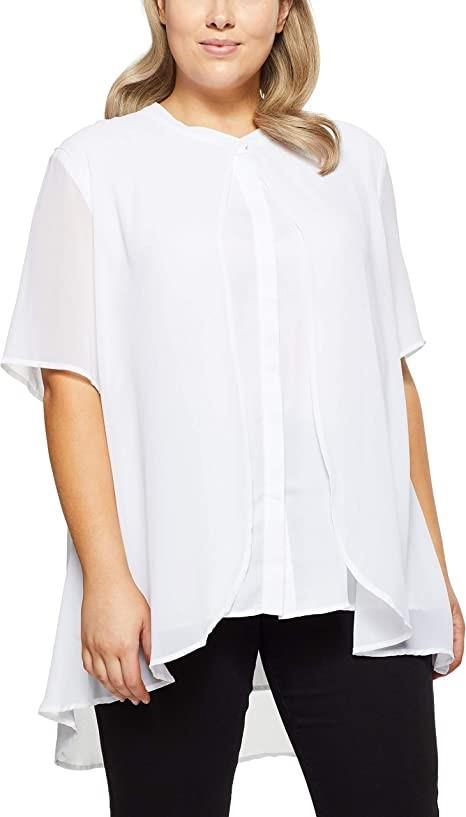 MY SIZE Womens Plus Size Palm Cove Layered Blouse, Colour White, Size XS. B