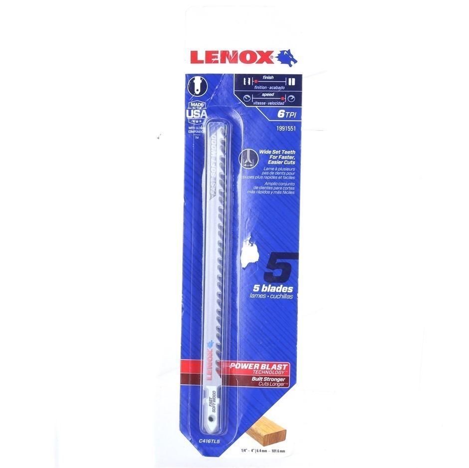 LENOX 5-Pack Jigsaw Blades, 152mm, 6TPI, Wide Set Teeth. Buyers Note - Disc