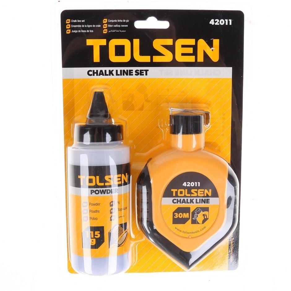 2 x TOLSEN 2pc Chalk Line Sets, Comprising; Chalk Line 3 Powder 115g Bottle