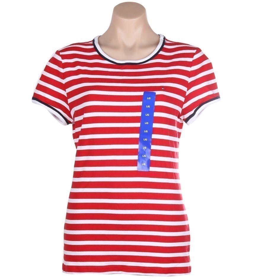 TOMMY HILFIGER Women`s Stripe Crew T-Shirt, Size M, 100% Cotton, Tango Red/