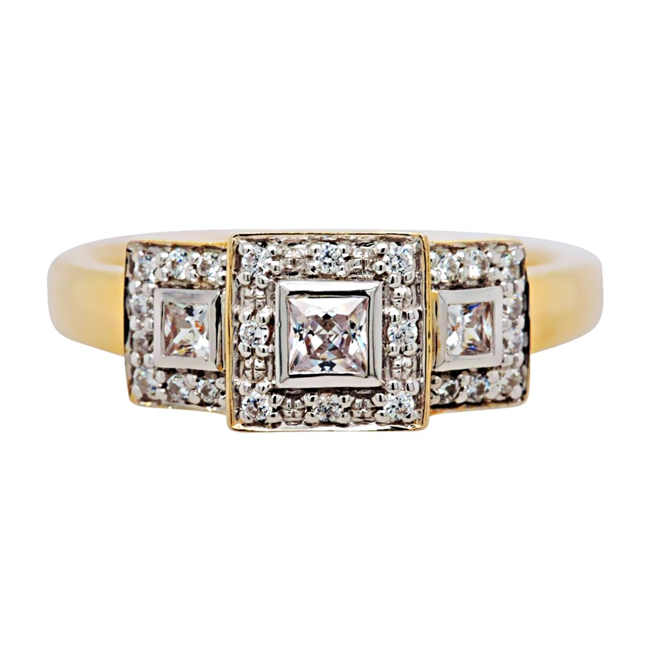 Yellow Gold Plated Sterling Silver White Princess Cut CZ Dress Ring.