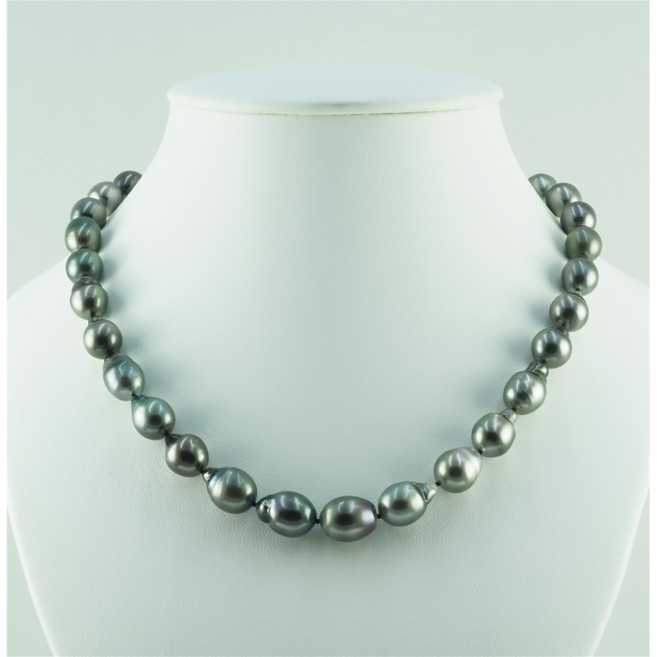9ct White Gold, 9.33mm - 10.8mm Pearck Necklace