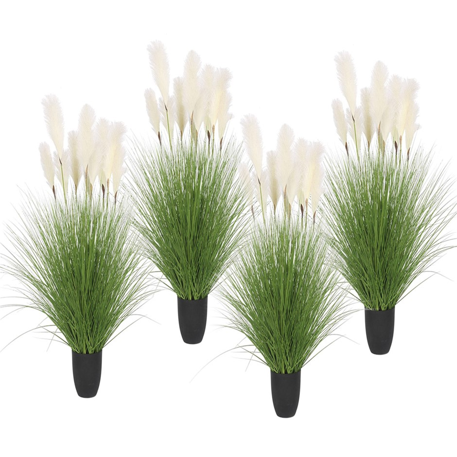 SOGA 4X 110cm Artificial Potted Reed Bulrush Grass Fake Plant Décor