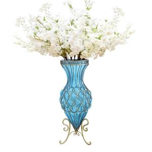 SOGA 67cm Blue Glass Floor Vase & 10pcs