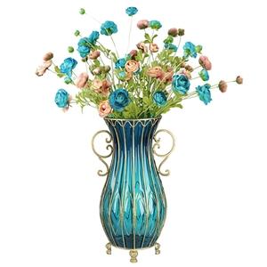 SOGA 51cm Blue Glass Floor Vase & 12pcs