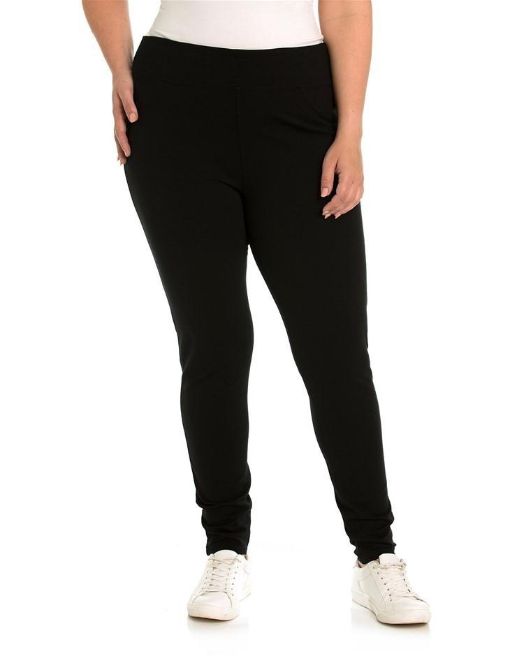 YARRA TRAIL PLUS Ponti Pant. Size L, Colour: Black. Viscose / Nylon / Elast