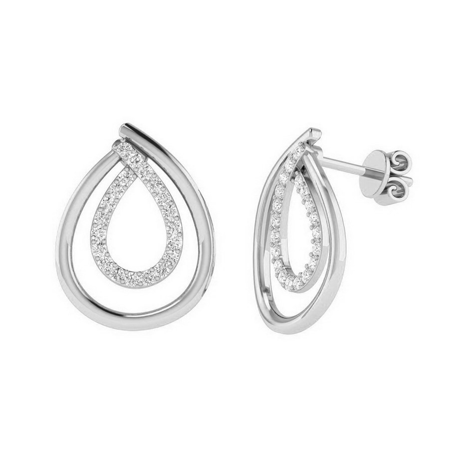 9ct White Gold, 0.16ct Diamond Earring
