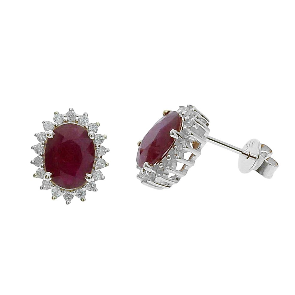 9ct White Gold, 2.23ct Ruby and Diamond Earring