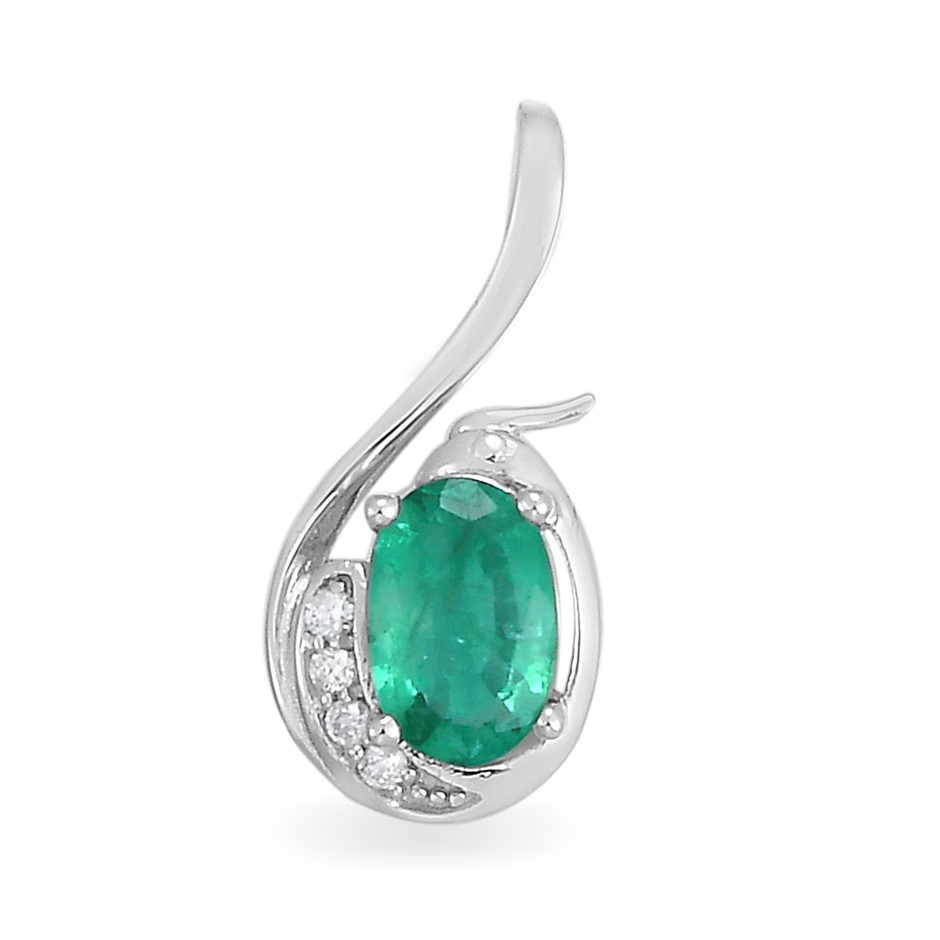 9ct White Gold, 0.50ct Emerald and Diamond Pendant