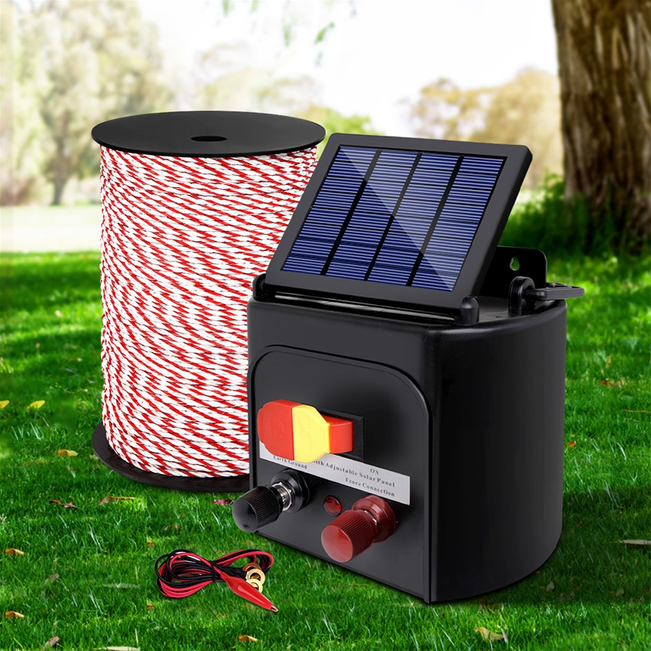 Giantz Electric Fence Energiser 5km Solar Powered Charger + 500m Rope