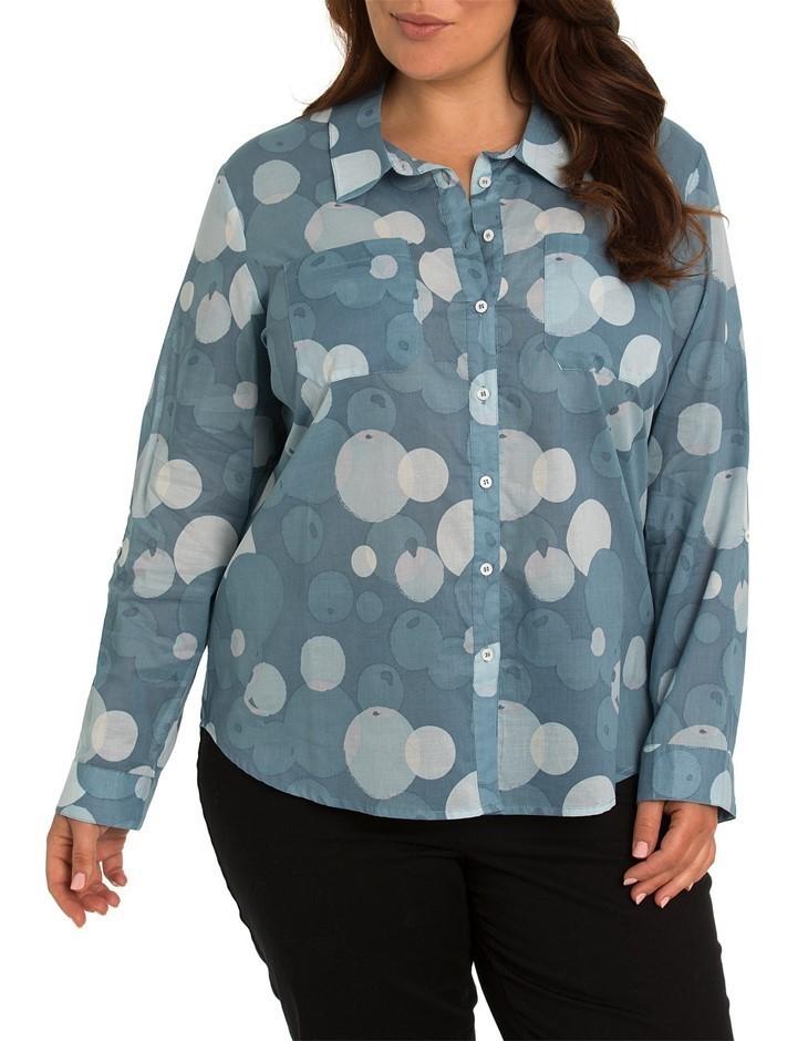 YARRA TRAIL PLUS 3/4 Tab Sleeve Bubble Print Shirt. Size 22, Colour: Cambri