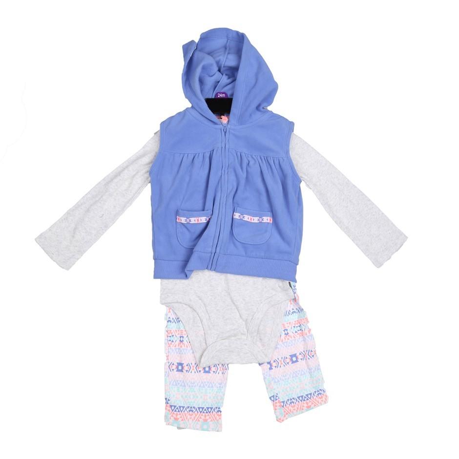 CARTER`S Girl`s 3pc Winter Clothing Set, Size 12M, Incl; Leggings,Onsie & H