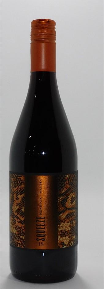 Squeeze Winery Mendoza Malbec 2018 (12x 750mL), Argentina. Screwcap.