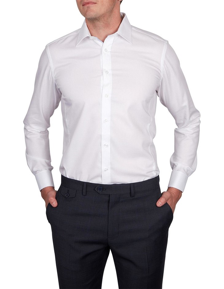 ABELARD Sella Self-Microcheck Shirt. Size M, Colour: White. 100% Cotton. Bu