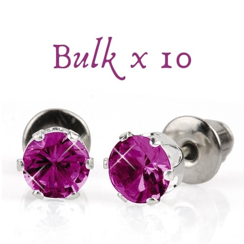 BULK PACK - 10 x 5mm Birthstone Earrings (February) - Great Gift Idea