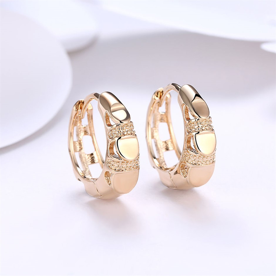 Elegant 18K Gold Filled GF GP Huggie Hoop Earrings