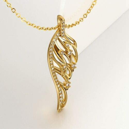 18K Gold Filled Angel Wing Zircon Crystal Pendant Necklace