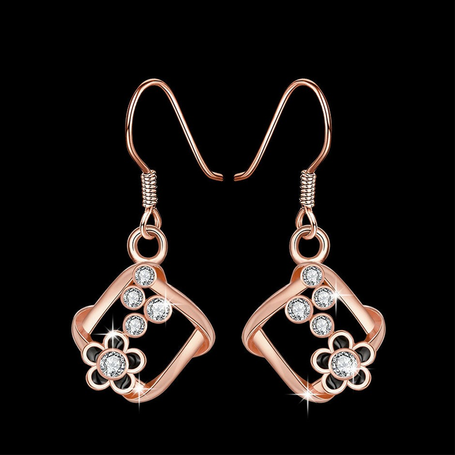 Classic 18K White Gold Filled Clear Crystal Oil Drip Dangly Earrings