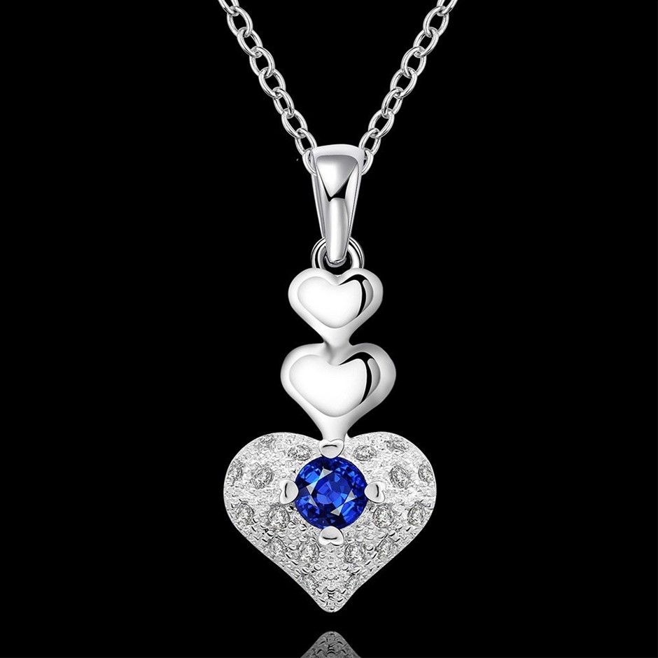 925 Sterling Silver Filled Blue Crystal Love Heart Pendant Necklace