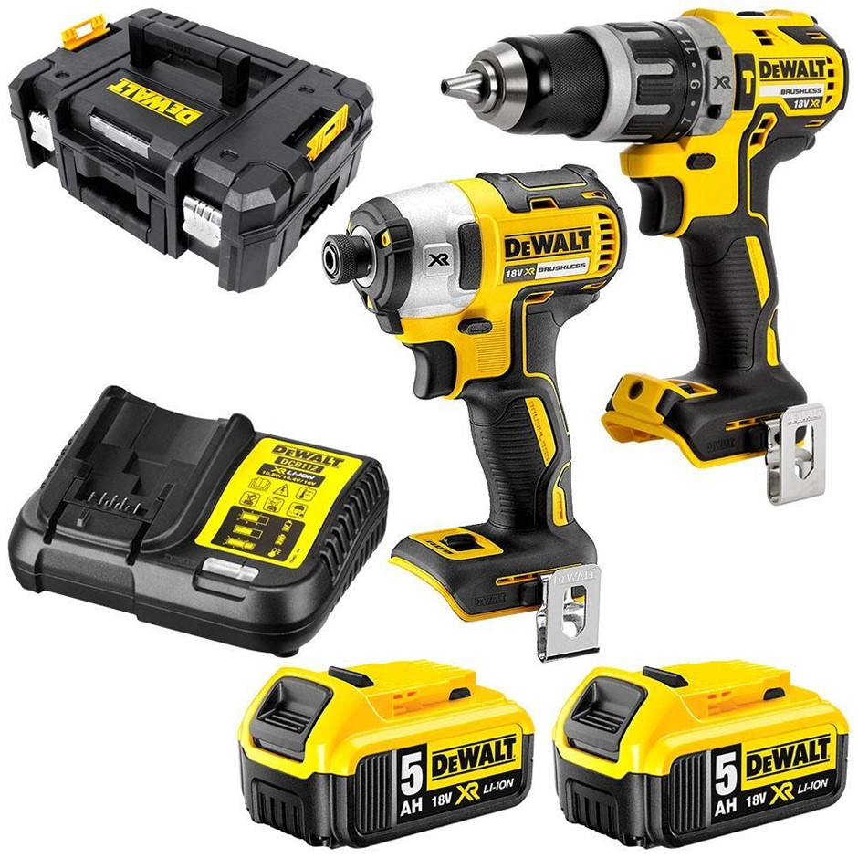 DEWALT 18V 5.0Ah XR Li-ion Cordless Brushless 2pc Combo Kit. N.B. Missing b