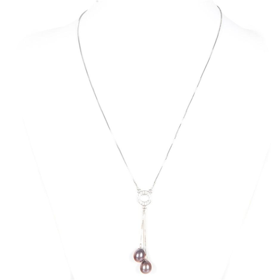 Natural Black Freshwater Pearl & CZ Set Necklace