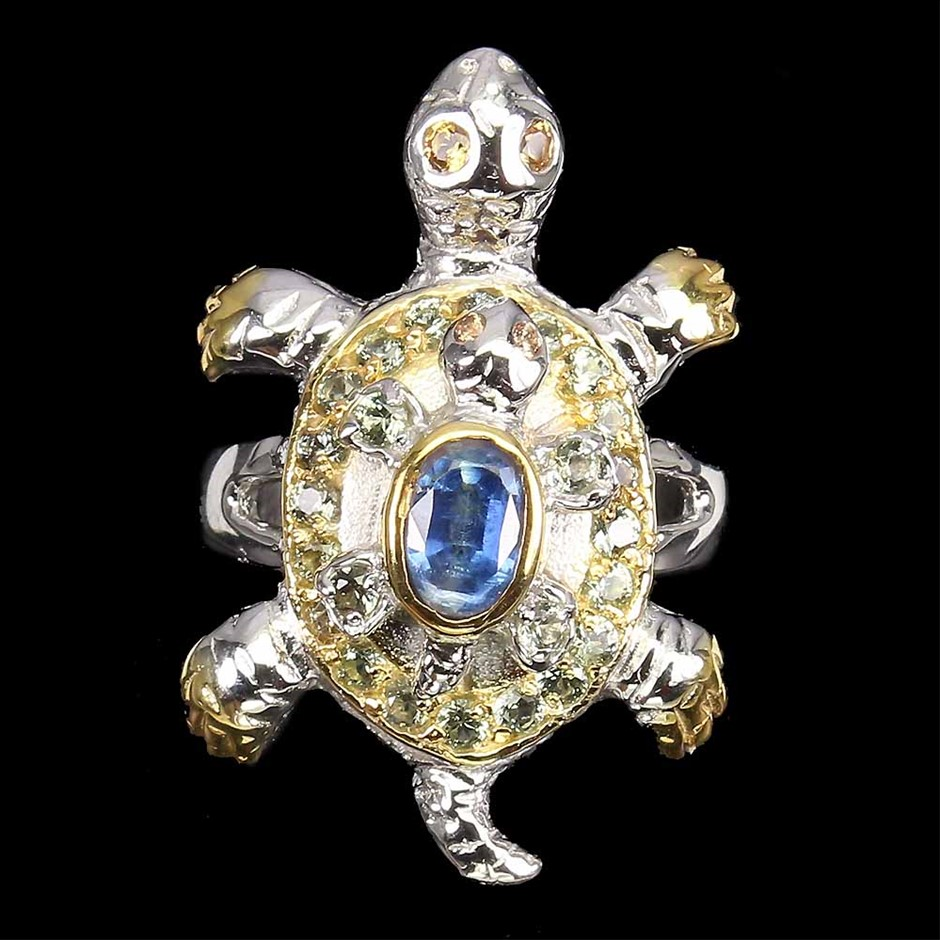 Beautiful Unique Genuine Kyanite & Sapphire turtle Ring