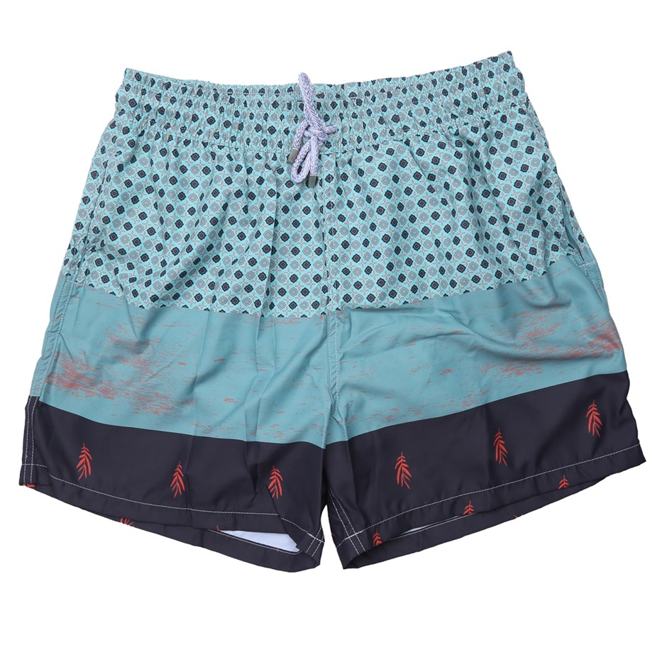 MAKASTIA Mens Mini Rombos Oscuros Shorts, Quick Dry Material, Colour Green,