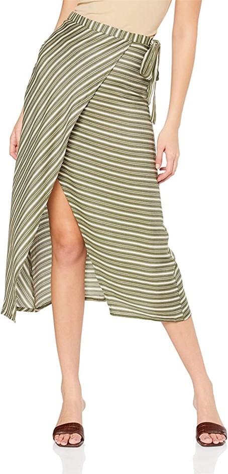 ALL ABOUT EVE Womens Savannah Midi Wrap Skirt, Colour White/ Khaki Stripe,