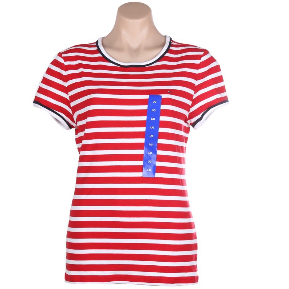 2 x TOMMY HILFIGER Women`s Stripe Crew T-Shirts, Size L, 100% Cotton, Tango