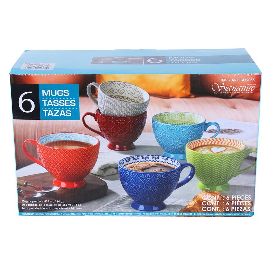 SIGNATURE 6pc Stoneware Footed Mug Set, 414ml. Multi- Coloured. Buyers Note