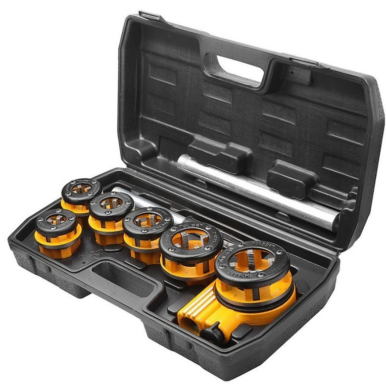 TOLSEN 9pcs Pipe Threading Set with 2 x Extension Bars, Die Sizes: 1/4ins,