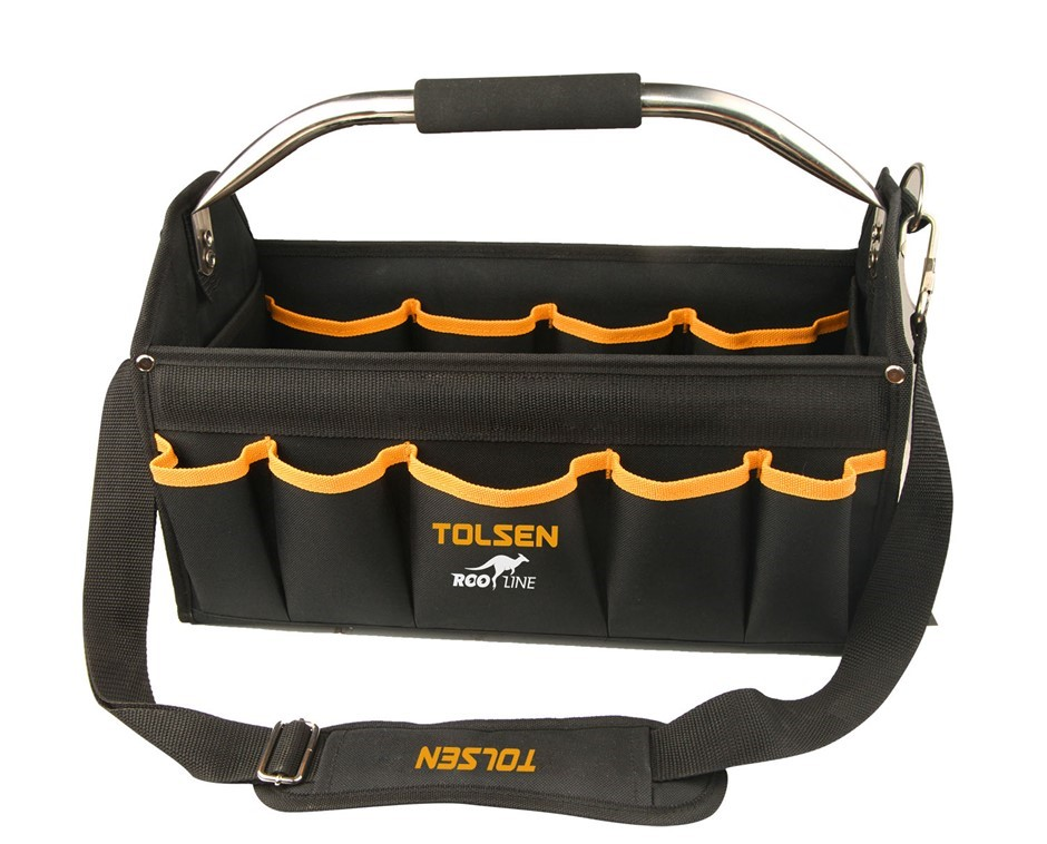 TOLSEN 17`` Foldable Tool Bag with 15 x Pockets, 8 x Interior Holders, Stai