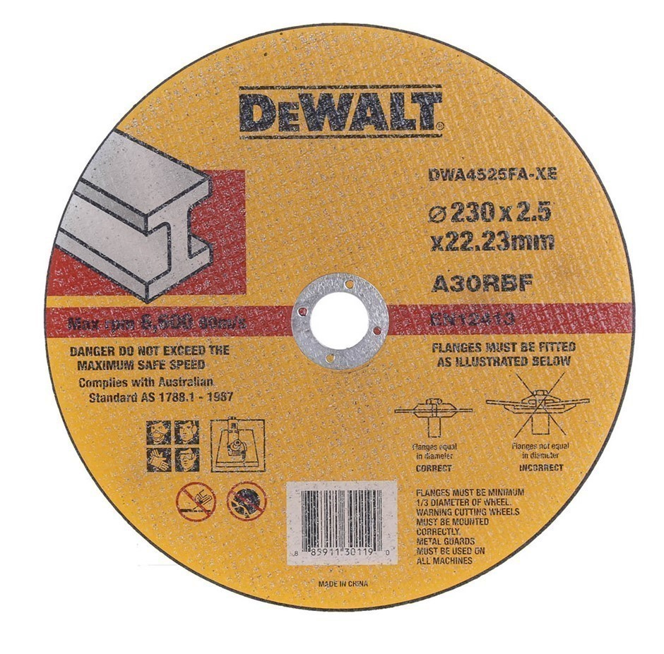 5 x DeWALT Metal Cut-Off Discs, 230 x 2.5 x 22.23mm. Buyers Note - Discount