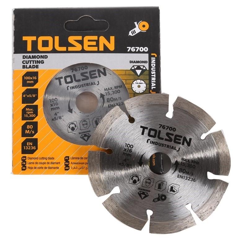 5 x TOLSEN Diamond Cut Blade, 100x16.0mm, Max RPM 15 300, Blade Width 10mm.