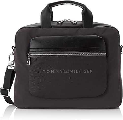 TOMMY HILFIGER Men`s Urban Laptop Bag, Synthetic, Zipper, Color: Black. Buy