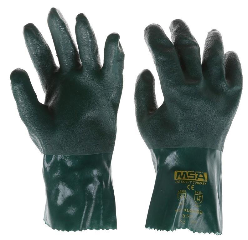 10 x MSA Metaguard PVC Heavy Duty Gloves, Size L, Soft Jersey. Buyers Note