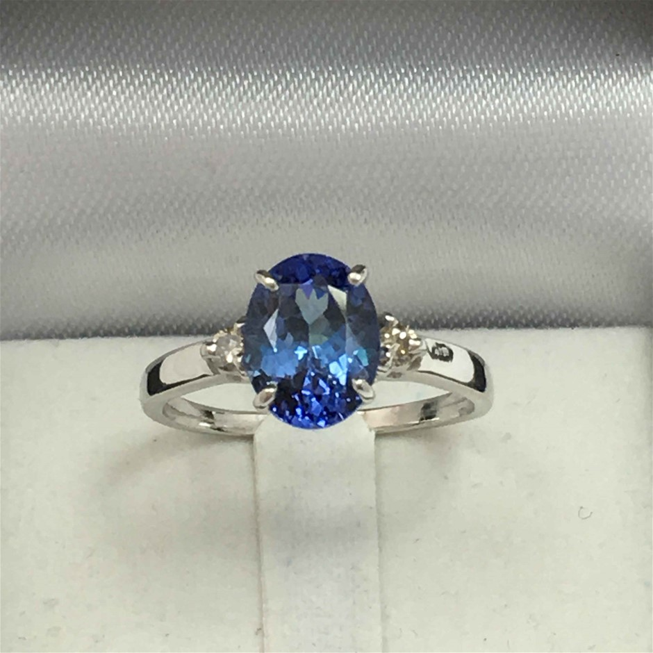 9ct White Gold, 1.50ct Tanzanite and Diamond Ring