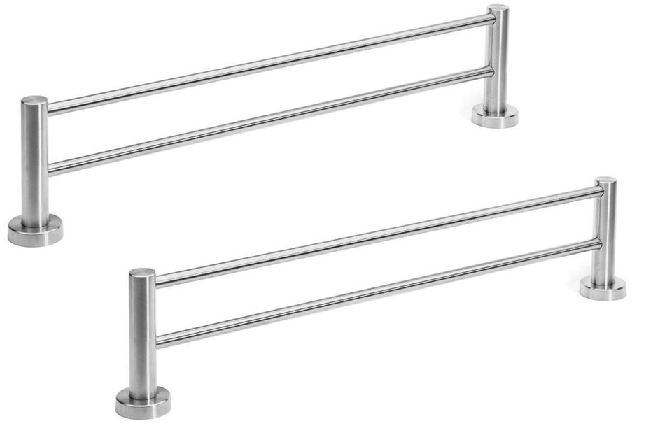 2 x Vspeed 600mm Brushed Stainless Steel Double Towel Rails