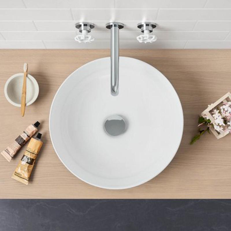 355x355x120mm Round Gloss White Ceramic Above Counter Wash Basin Ultra Slim