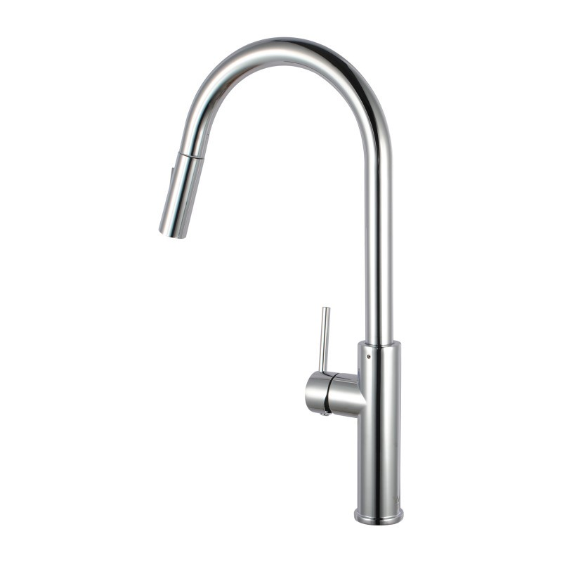 Chrome Solid Brass Round Mixer Tap w/ 360 Swivel Pull Out and Spray Option